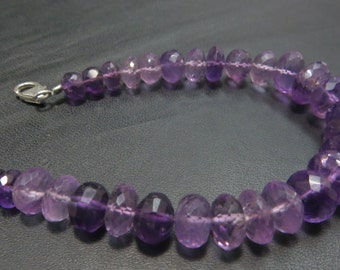 16 Inches Amethyst  Micro Faceted  Single Strand Necklace With 92.5 Sterling Silver Stone Size 6mm To10 mm Approx