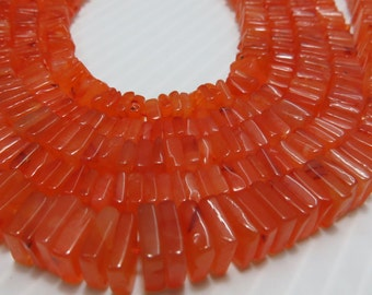 16 Inches Beautifull 100%  Natural Stone Carnelian Smooth Polish Heishi Squar Bead Shape Size 4  mm to 5 mm Approx