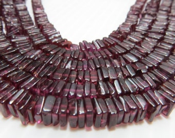 16 Inches Beautifull 100%  Natural Stone Garnet  Smooth Polish Heishi Squar Bead Shape Size 4  mm to 5 mm Approx