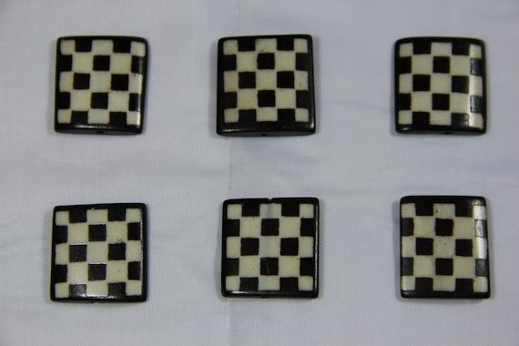 6 pcs Batik Bone Small Square Rectangle Beads