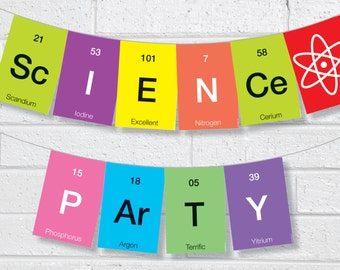 Instant Printable Science Bunting - Instant Download DIY Printable Science Party Bunting / Banner Pennant Garland Bunting