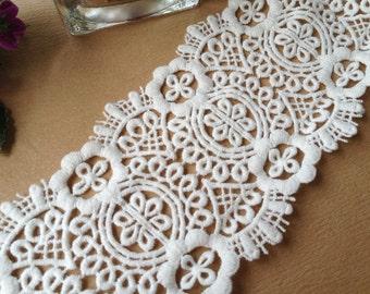 Off White Cotton Floral Lace Trim Vintage Crochet Lace Trim for Clothing Decor