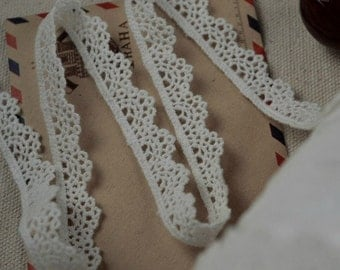 White Cotton Fabric Embroidered Lace Tape Cotton Ribbon for Apparel, Bag, Scrapbooking
