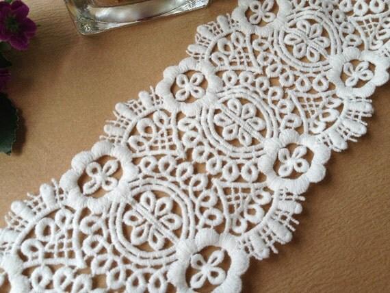 Off White Cotton Floral Lace Trim Vintage Crochet Lace Trim