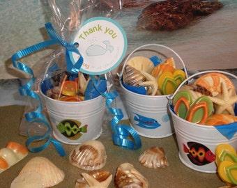 Twelve Beach Pail Chocolate Seashell Favors