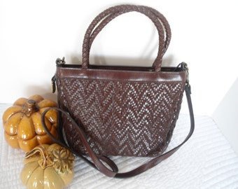 Vintage Liz Claiborne Basketweave Faux Leather Convertible Handbag