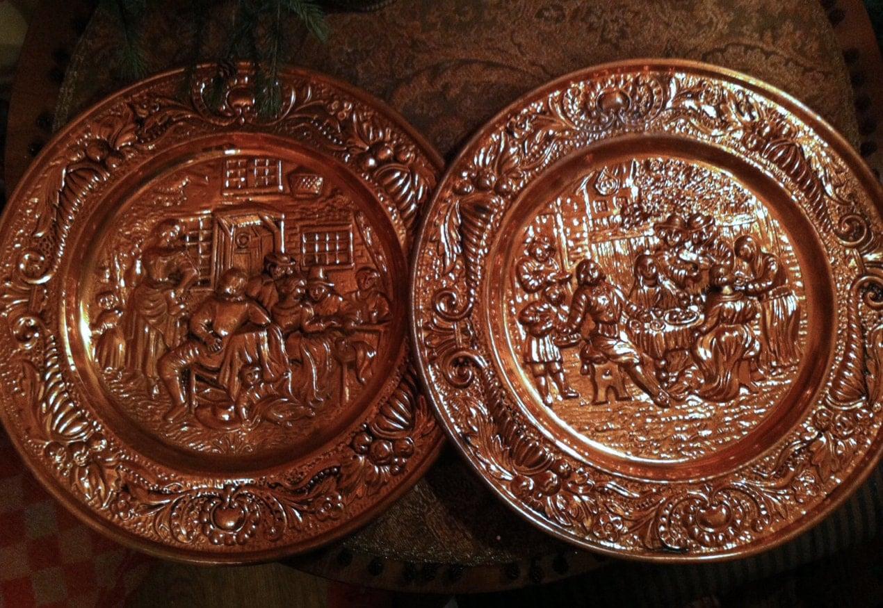 Copper decorative plates set of two peerage repousse copper for Decoration plates