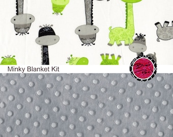 Cotton and Minky Baby Blanket Kit LIME GIRAFFE fabric and GRAY Cuddle Minky Dimple Fabric Bundle with Pdf Pattern Included