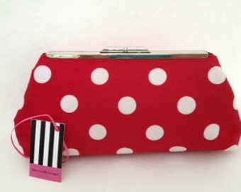 Red with Large White Polka Dots Cotton Clutch Purse with Nickel/Silver Finish Snap Close Frame