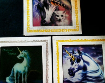 Lot of Vintage Carnival Prizes- Unicorn Art on Square Glass Tiles with Cardboard Frames -Groovy  Unicorn Decor