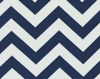 SHIPS SAME DAY Blue and White Chevron Fabric, Outdoor Cushions Fabric, Zig Zag Navy Outdoor Fabric, Upholstery Fabric - by the 1/2 yard
