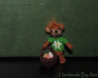 Miniature Easter bear miniature bear miniature teddy bear micro crochet Easter amigurumi basket with eggs dollhouse Easter miniatures toys