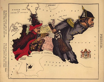 Fun Map of Prussia, W. Harvey 1869
