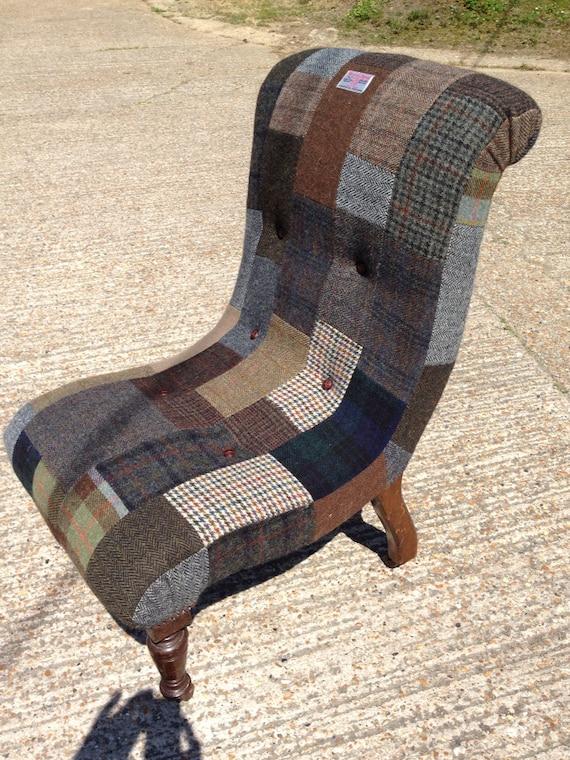 Antique slipper chair lovingly wrapped in harris tweed tartan