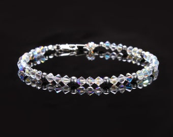 Swarovski Crystal Clear Ab and Silver Hematite Anklet