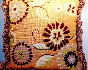 Vintage Tracy Porter Needlepoint Decorative Pillow