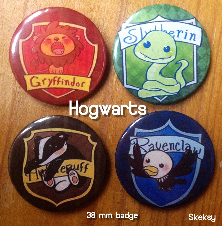 Cute Hogwarts House Crests 38mm Badge Pack By Harveypinkertons