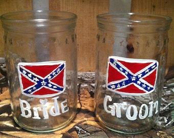 Redneck wedding shot glasses rebel flag shot glasses for Rebel flag wedding dresses