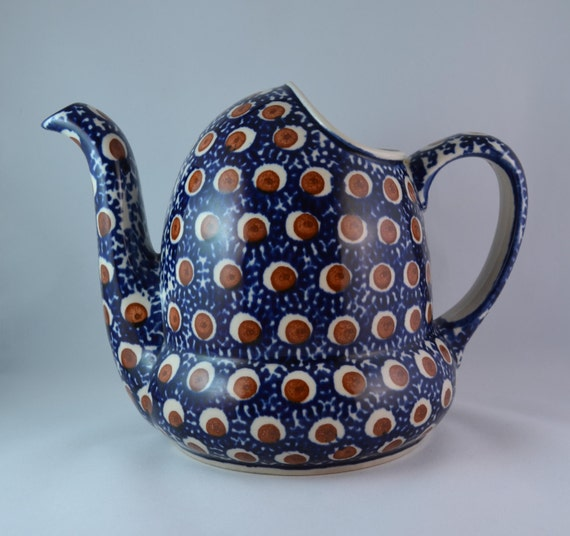 Vintage Boleslawiec Ceramika Wiza Polish Water Can Jug Pitcher Made in Poland Cobalt Blue with Red