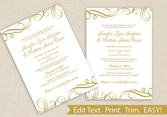 Elegant Wedding Invitation Templates: Printable Wedding Invitation Template DOWNLOAD By