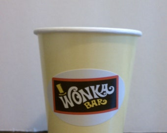Willy Wonka Chocolate Bar Stickers for Party Cups