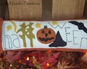 Hand Embroidered Halloween Decor Pillow