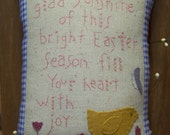 Appliqued Wool Primitive Easter Verse Pillow