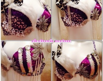 Glam Leopard Rave Bra - Size 34C -- Original Electronic Couture