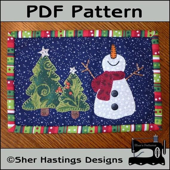 PDF Pattern For Christmas Mug Rug Happy Snowman Mug Rug