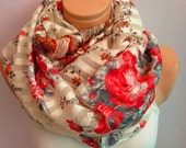 Red And Brown Rose Pattern Infinity Scarf,Shawl Circle Scarf,Loop scarf,Gift Idea,Women Scarf,Scarf,scarves