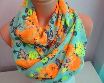 SALE----Scarf, Orange Roses Infinity Scarf, Shawl Circle Scarf, Loop scarf, Women Scarf