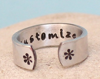 "Custom Aluminum Ring-"".. Adjustable aluminum Wrap Ring.. Personalized Ring.. Hand Stamped.. Choose aluminum /brass /copper.."