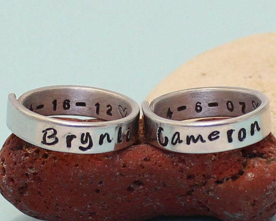 Personalized Names & Dates Rings Couple rings. Adjustable.