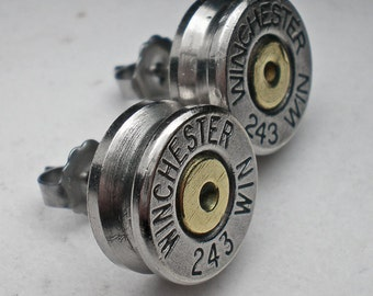 243 Winchester Nickel Bullet Head Stud Post Earrings Bullet Jewelry Steampunk