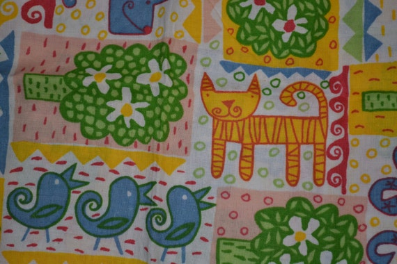 Items similar to retro swedish fabric curtain children for Retro childrens fabric