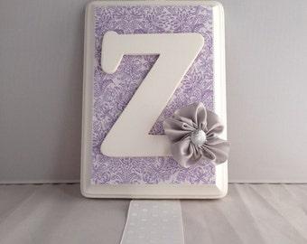 Letter Initial Purple Toile Flower Hair Bow Holder and Organizer, first birthday gift, new baby gift, big sister gift