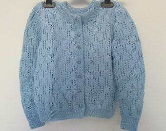 K84 Handmade Knitted pale blue cardigan in cotton - Ready to Ship