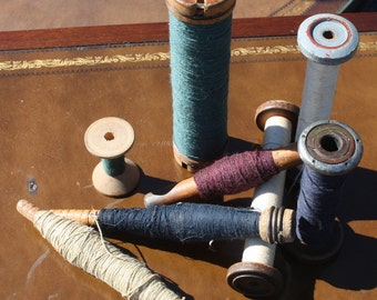 Vintage Industrial Sewing Spools with different color vintage thread Set of 7