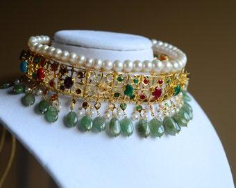 Vintage Multi-Gem Stone Collar with Premium quality Emeralds