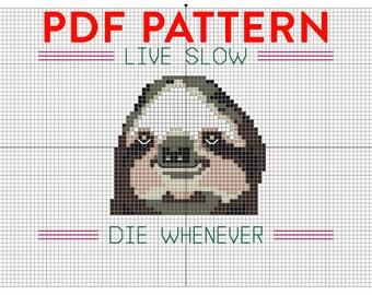 PDF PATTERN Sloth cross stitch