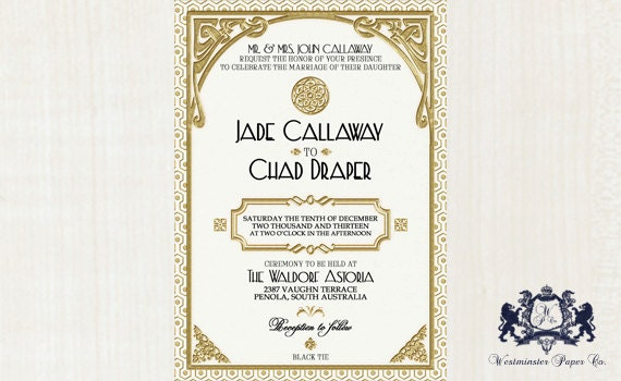 Gatsby Wedding Invitation: Gatsby Wedding Invitation Printable White By