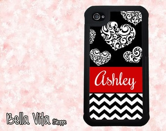 Rubber  iPhone 4 Case - Black & White Hearts Chevron with Red Monogram, Personalized  iPhone 4 Case, Cases for iPhone 4 Cover  - Tough