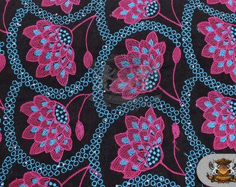 African Lace Swiss Voile Fabric 01 Dahlia FUCHSIA / Sold per 5 yard Piece