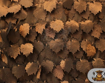 """Taffeta Grape Leaves Fabric BROWN / 57"""" Wide / Sold by the yard"""