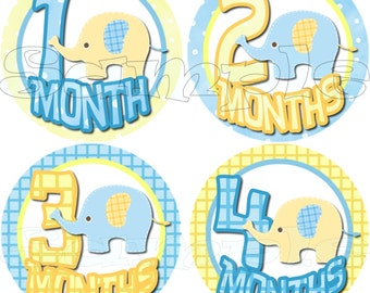 First Year Monthly Stickers  Baby Stickers Baby Shower gift 1- 12 Months Infant month stickers Onepiece Milestone stickers Baby Boy Elephant