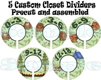 Closet Dividers 5- PRECUT Assembled Baby Boy Forest Woodland set Clothes Dividers  Size Dividers Hangers Rod dividers  Organizer Infant
