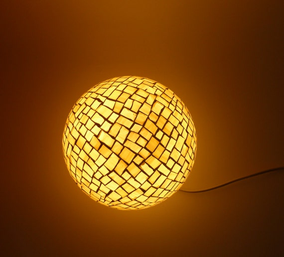 Golden yellow mosaic floor or table lamp by tiffanyandfiori for White mosaic floor lamp