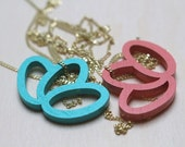 coral geometrical pendant, wood pendant, rose necklace, laser cutted, gold-plated silver chain
