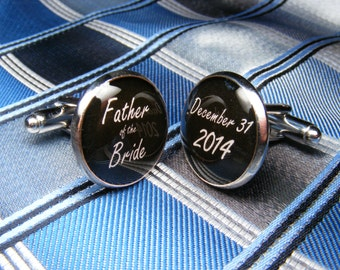Father of the Bride Custom Date Cufflinks - These cuff links are the ideal wedding gift for your dad.