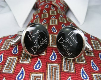 I love you Daddy Cufflinks - Jewelry for Men Gift Ideas - Father of the Bride Jewellery - Wedding Cufflinks Mens Accessories - Cuff Links